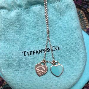 Tiffany & co double mini heart necklace